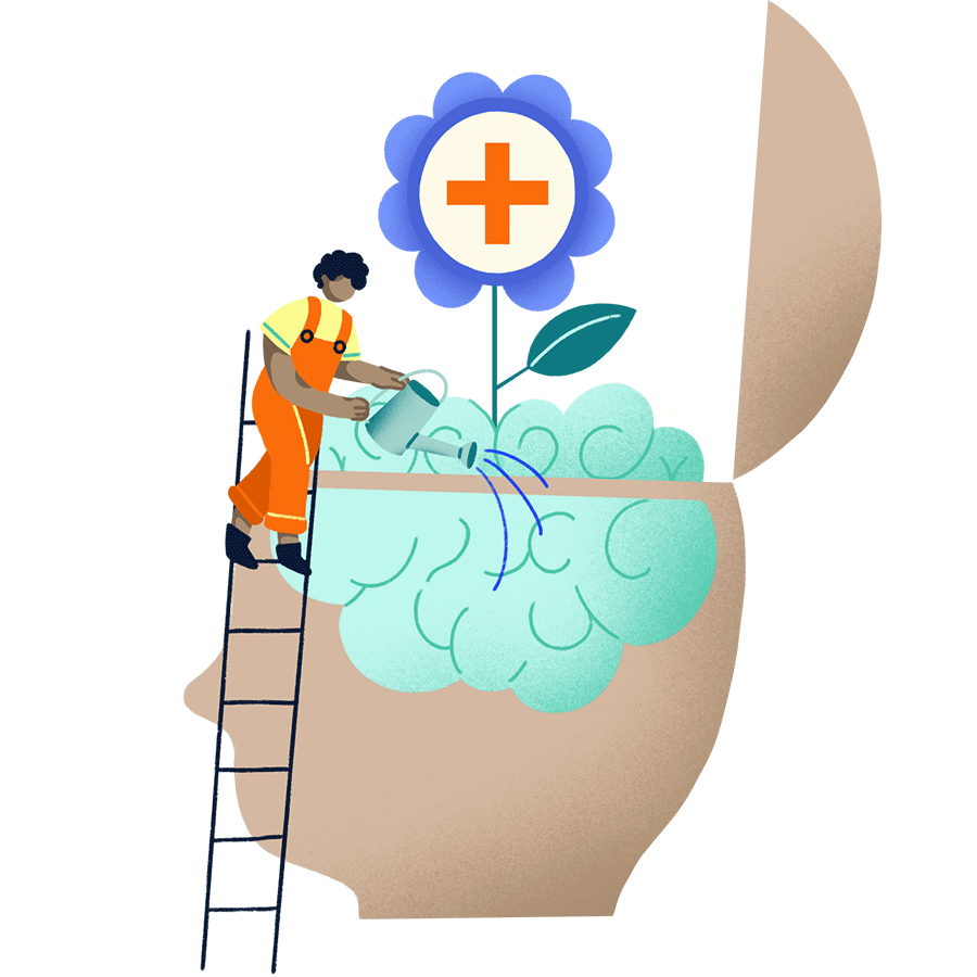 icon of a person watering a brain with a flower with a medical cross growing from it