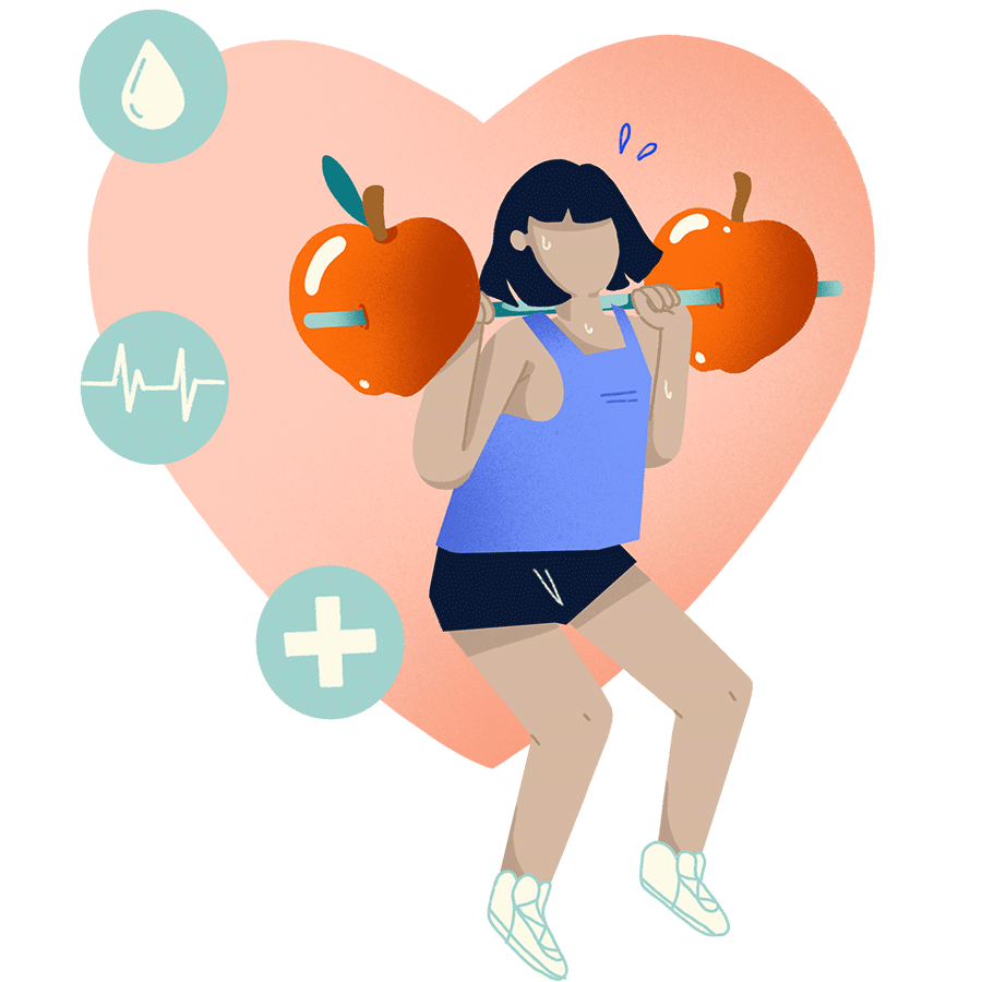 icon of a woman exercising with apples as weights