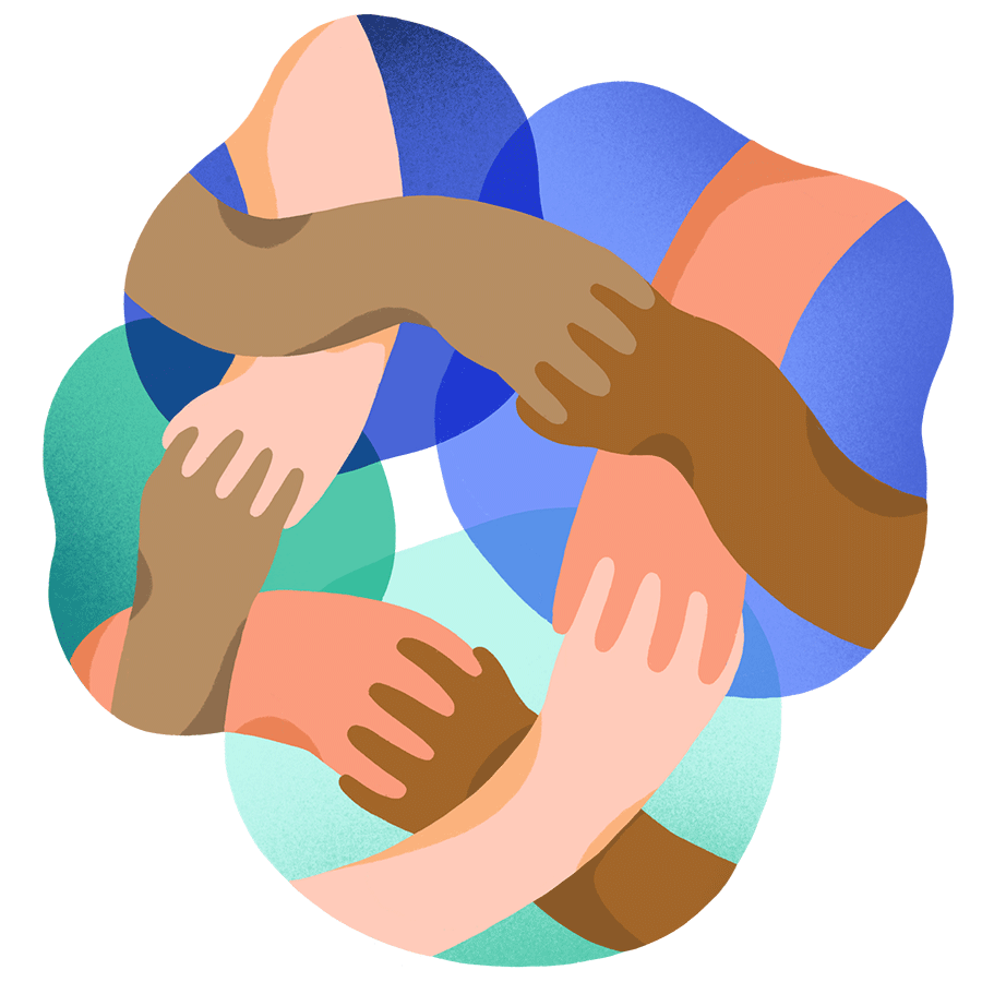 icon of four pairs of hands crossing to take each other's hands