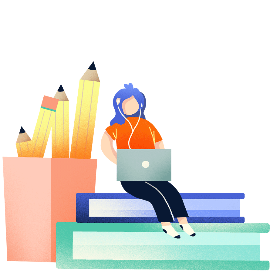 icon of a person with a laptop sitting on giant stack of books by. giant pencils