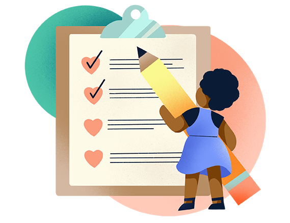 icon of a woman with a pencil checking off items from a clipboard