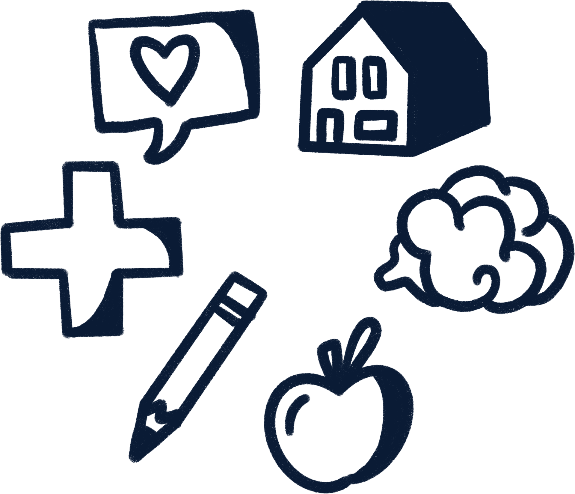 icons of a medicine cross, pencil, apple,, broccoli, house, and speech bubble